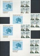 Australian Antarctic Territory 1982 27c Mawson Blocks Of 4 On 4 Base FDC Set Official Unaddressed - Australian Antarctic Territory (AAT)