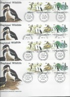 Australian Antarctic Territory 1983 Regional Wildlife Strip Of 5 4 Base FDC Set Official Unaddressed - Australian Antarctic Territory (AAT)