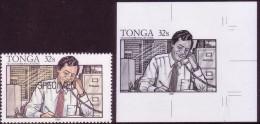 Tonga  1991 - Office Worker On Telephone - Proof + Specimen - Tonga (1970-...)