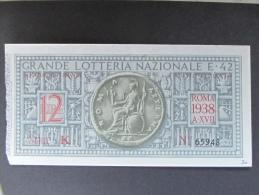 BIGLIETTO LOTTERIA 1938 E 42 SPL - Biglietti Della Lotteria