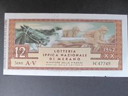 BIGLIETTO LOTTERIA 1942 MERANO SPL - Biglietti Della Lotteria