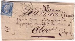 ALGERIE - ORAN - LETTRE POUR ALGER LE 30-4-1866 - BOITE RURALE L (RARE EN ALGERIE) - EMPIRE N°22 OBLITERATION GC-TEXTE I - Poststempel (Briefe)