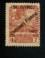ITALIE FIUME MET SCHARNIER  AVEC CHARNIERE HINGED MIT FALZ YVERT 167 - 8. WW I Occupation