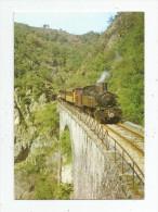 Cp , Chemin De Fer Du Vivarais, Ligne Tournon - Lamastre , Le Train Accroché à La Coliline , Ed : C.F.T.M , Voyagée 1997 - Treni
