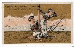 Chromo Mercerie, Bonneterie, Chemises, Champillou & Leoman, Orléans : Enfant, Marins, Bateau, Naufrage - Andere