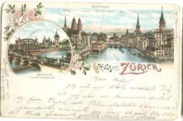 Gruss Aus ZÜRICH Farblitho 1897 Nach Dänemark Viele Poststempel - ZH Zürich
