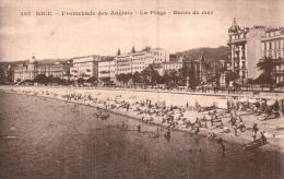 06 NICE PROMENADE DES ANGLAIS LA PLAGE BAINS DE MER CIRCULEE 1928 - Nice