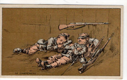 Chromo Mercerie, Bonneterie, Chemises, Champillou & Leoman, Orléans : Le Campement ( Soldats, Fusils ) - Andere