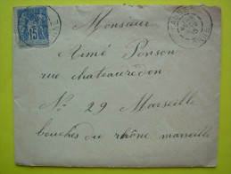 Sage 15 C Bleu Sur Lettre ,1885  , Orne - 1876-1898 Sage (Tipo II)