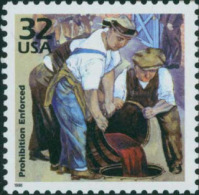 USA 1998 Celebrate The Century 1920's Stamp- Prohibition Enforced Sc#3184c Wine Painting - Wines & Alcohols