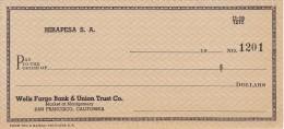 BILLETE DE ESTADOS UNIDOS DE WELLS FARGO BANK & UNION TRUST Co.  (TALON) HIRAPESA S.A. - Estados Unidos