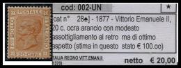 ITALIA, 1877. 20 C. OCRA DIFETTOSO: MODESTO ASSOTTIGLIAMENTO AL RETRO * MH Sass. 28 - Neufs