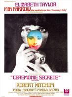 Affiche Cinéma Format 21cmx30cm - Cérémonie Secrète - Josph Losey - Elisabeth Taylor - Mia Farrow- Robert Mitchum - Affiches