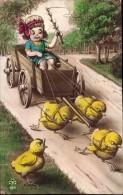 EASTER: LITTLE GIRL BEING PULLED ALONG ON A CHICK DRAWN WAGON ~ SQUEAKER (not Working) - Dreh- Und Zugkarten
