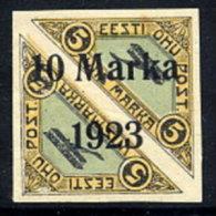 ESTONIA 1923 10 Mk. Surcharge On Airmail Pair Imperforate, LHM / *  Michel 43B - Estonia