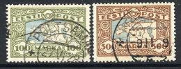 ESTONIA 1923-24 Map 100 Mk. And 300 Mk., Used  Michel 40, 54 - Estonia