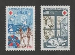 FRANCE Croix-Rouge  1974  N° YT 1828 ** &  1829 **   MNH  -   Les Saisons Eté Et Hiver - Cote 1.45 Euro - Francia