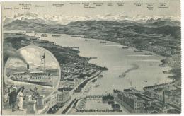 Dampfschifffahrt Auf Dem Zürich-See Rundfahrt-Schiff Um 1908 - ZH Zürich