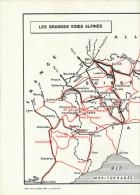 """Photo, Le Monde Alpin (1965): """"LES GRANDES VOIES ALPINES, Routes, Voies Ferrées"""", Légende (29,5 Cm X 48 Cm) TBE, 3 Scans - Cartes Routières"""