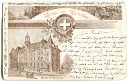 Gruss Aus WINTERTHUR Mit NeuesPostgebäude Litho 1899 Nach Dänemark WÜLFLINGEN Stempel - ZH Zürich