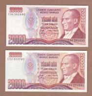 AC -  TURKEY 7th EMISSION 20 000 TL C LIGHTER & DARKER REDDISH COLORED PAIR  BOTH UNCIRCULATED - Turquie