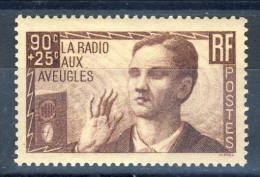 Francia 1938 N. 418 C. 90+25 Pro Radio Ai Ciechi MNH GO Catalogo € 20 - Ungebraucht
