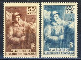 Francia 1938 Serie N. 386-387 Monumento Alla Fanteria MNH GO Catalogo € 17 - Francia