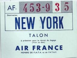 AIR FRANCE New York Paris Et Retour 1961 Billet + Talon - Billets D'embarquement De Bateau