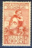 Francia 1939  N. 428 C. 90+35 Pto Figli Dei Disoccupati MNH GO Catalogo € 4,30 - Ungebraucht