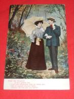 """COUPLES -  """" Pour Les Heureux ..."""" -  Couple Amoureux Dans Un Décor Boisé -  1905      - (2 Scans) - Couples"""