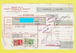 Banque De La SOCIETE GENERALE De Belgique - Demande D'achat Titres Nivelles 1937 - Timbres Fiscaux 2 FB Et 0,40 F (4111) - Actions & Titres