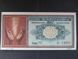 BIGLIETTO LOTTERIA 1947 SOLIDARIETA' NAZIONALE SPL - Biglietti Della Lotteria