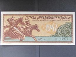 BIGLIETTO LOTTERIA 1947 MERANO SPL - Biglietti Della Lotteria