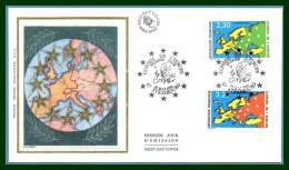 FDC Silk Soie Conseil De L' Europe Strasbourg 1990 N° S 106 /7 - FDC