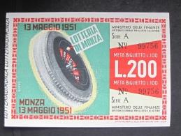 BIGLIETTO LOTTERIA 1951 MONZA SPL - Biglietti Della Lotteria