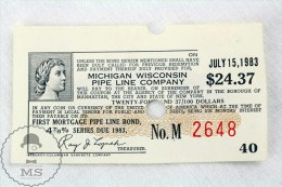 Michigan Wisconsin Pipe Line Company 24.37 Dollars Voucher From July 15, 1983 - Otros