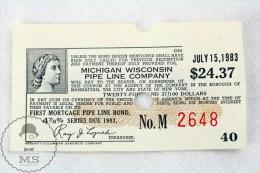 Michigan Wisconsin Pipe Line Company 24.37 Dollars Voucher From July 15, 1983 - Estados Unidos