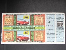 BIGLIETTO LOTTERIA 1954 SOLIDARIETA' NAZIONALE MONZA CON TAGLIANDO SPL - Biglietti Della Lotteria