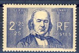 Francia 1939 N. 439 F. 2,25+25 Pro Chomeur Intellectuels MNH GO Catalogo € 32 - Francia