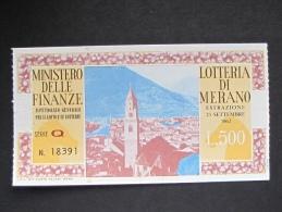 BIGLIETTO LOTTERIA 1962 MERANO SPL - Biglietti Della Lotteria