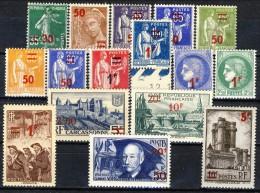 Francia 1940 - 41 Serie N. 476-493 Sovrastampati MNH GO (476 E 480 Usati) Catalogo € 97 - Ungebraucht