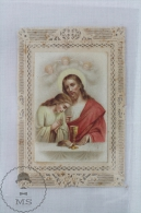 Antique Die Cut Holy Card Of Jesus Christ - Holy Lace - Imágenes Religiosas