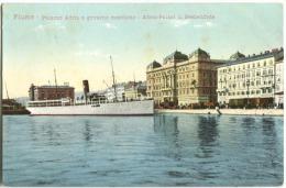 CROATIA - RIJEKA / ITALY - FIUME / 1910-20 Palazzo Adria E Governo Marittimo With Steamshipcolour Card - Croatia