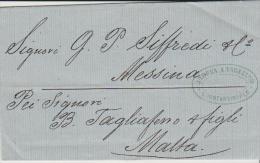 Turkey EL 1866 Constantinople - Messina -  Malta - Turkey