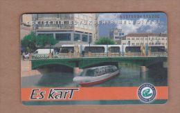 AC- MULTIPLE RIDE TRAIN, PASSENGER FERRY & BUS PLASTIC CARD ESKISEHIR, TURKEY PUBLIC TRANSPORTATION - Titres De Transport