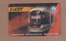 AC- MULTIPLE RIDE TRAIN, PASSENGER FERRY & BUS PLASTIC CARD ESKISEHIR #2, TURKEY PUBLIC TRANSPORTATION - Titres De Transport