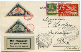 SUISSE CARTE POSTALE DU MEETING INTERNATIONAL DE GENEVE 31 MAI - 1er JUIN 1925 AVEC 2 VIGNETTES DU MEETING - Posta Aerea