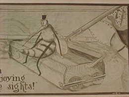 Cpa  INSECTE MOUSTIQUE ASSIS Sur Un BALAI MECANIQUE ,1912 , DRESSED MOSQUITO On BROOM  Recto Verso Prix Fixe - Animaux Habillés