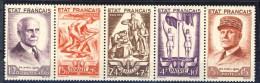 Francia 1943 Serie N. 576-580 Pro Soccorso Nazionale. Banda Di 5 MNH GO Catalogo € 155 - Unused Stamps