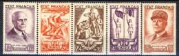 Francia 1943 Serie N. 576-580 Pro Soccorso Nazionale MNH GO Catalogo € 100 - Unused Stamps